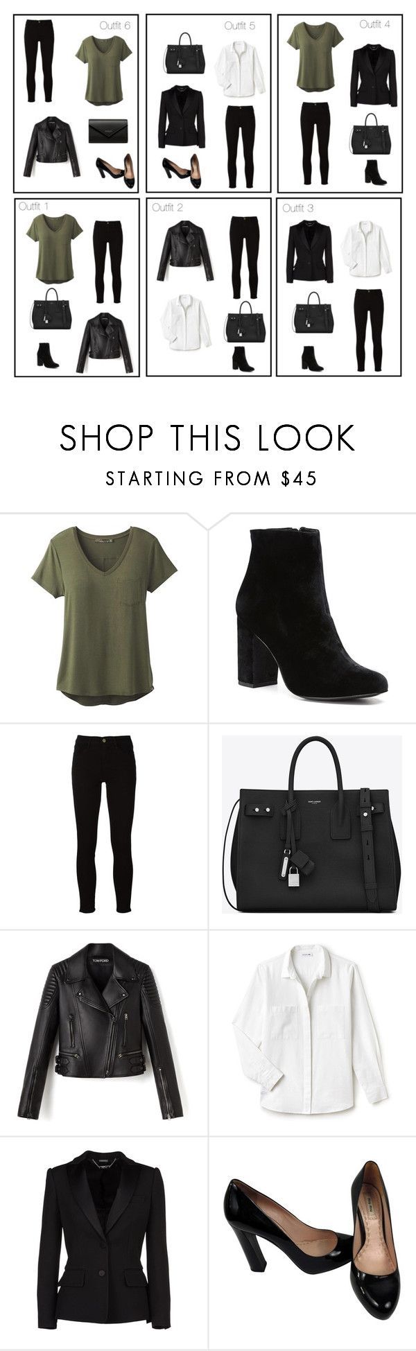 """6 outfits - basic clothes"" by monika1555 on Polyvore featuring prAna, Witchery, Frame, Yves Saint Laurent, Lacoste, Alexander McQueen, Miu Miu and Balenciaga"