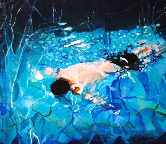 Lone Swimmer in the Western Baths, Glasgow, Scotland.  Artist: Thea Muller Jenssen.  Original artwork, £345 A4 mounted print £34.99. Swimming