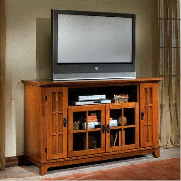 Mission Shaker Oak Entertainment Center Console For The