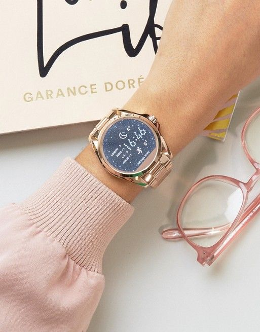 Michael Kors Rose Gold Bradshaw Smart Watch https://www.thesterlingsilver.com/product/citizen-watch-silhouette-crystal-womens-quartz-watch-with-white-dial-analogue-display-and-rose-gold-stainless-steel-gold-plated-bracelet-fd2016-51a/