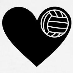Ik hou van volleybal Hart met bal speler atleet T-shirts