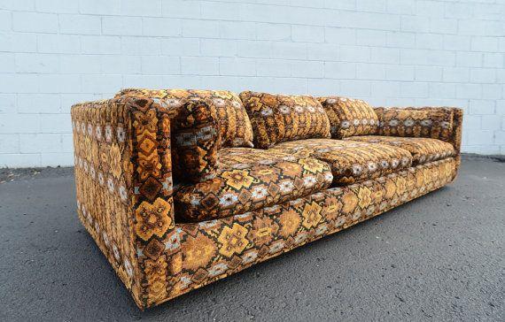Super Swanky Patterned Velvet Tuxedo Style Sofa C 1970