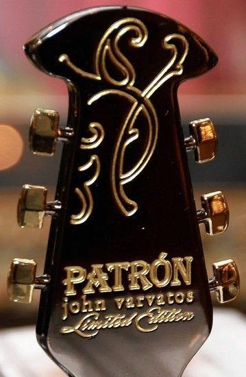 JOHN VARVATOS PATRON ANEJO WITH LTD EDITION GUITAR HEAD BOTTLE STOPPER GIFT SET