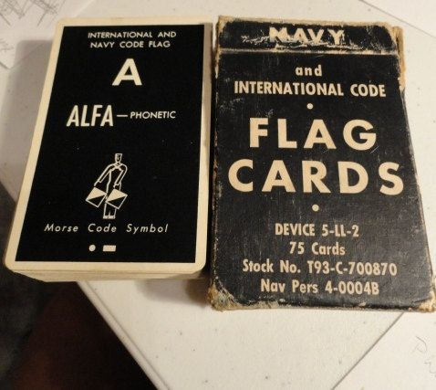 B134)  Vintage US Navy Flag Cards  Brown & Bigelow 75 cards Nav Pers 4-0004B flags and international codes
