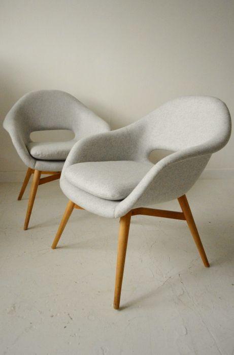1950s Czech midcentury modern armchairs, Drevopodnik Holesav, Halabala