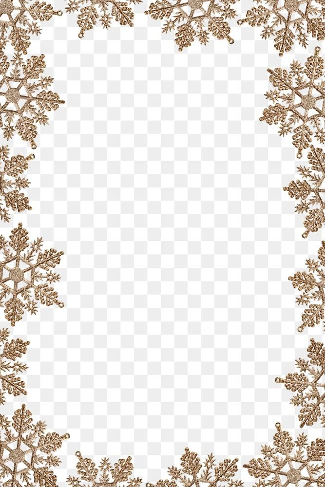 Download Free Png Of Festive Golden Snowflakes Frame Transparent Png Snowflakes Frame Promotional Design