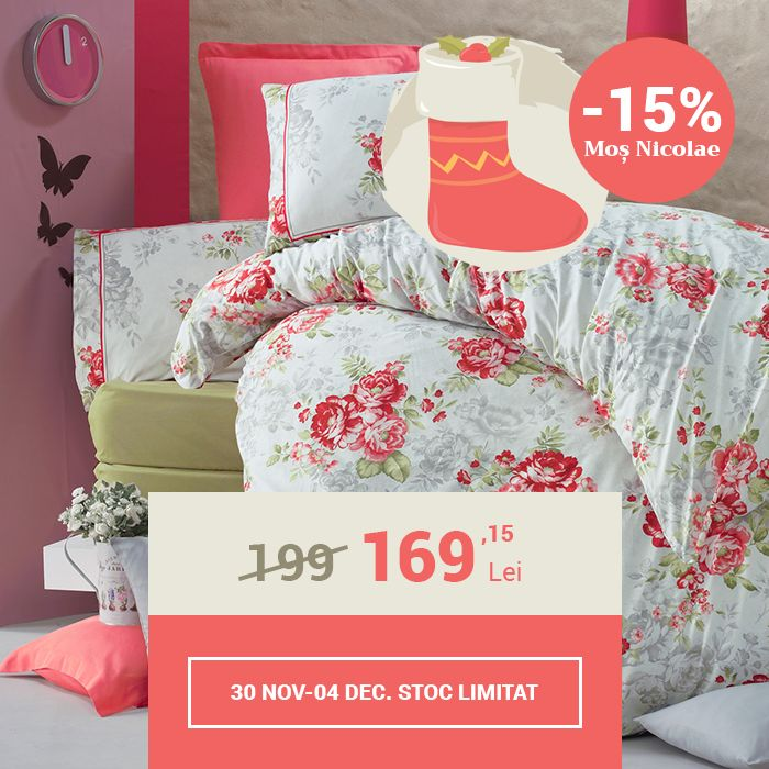 Lenjerie de pat din bumbac Valentini Bianco VKR10 Shabby Rose (-15%)