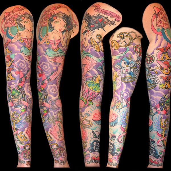 Girly sleeve tattoos girly sleeve tattoo 30year old for Girly arm sleeve tattoos