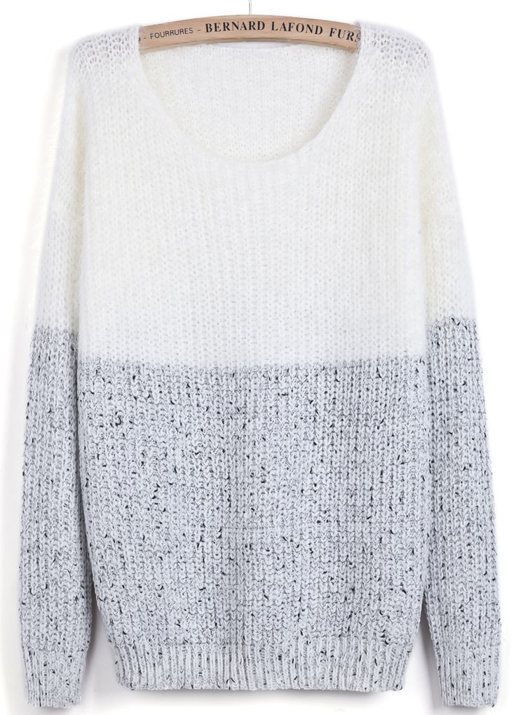White Contrast Grey Long Sleeve Mohair Sweater #sweaters #sweaters2013