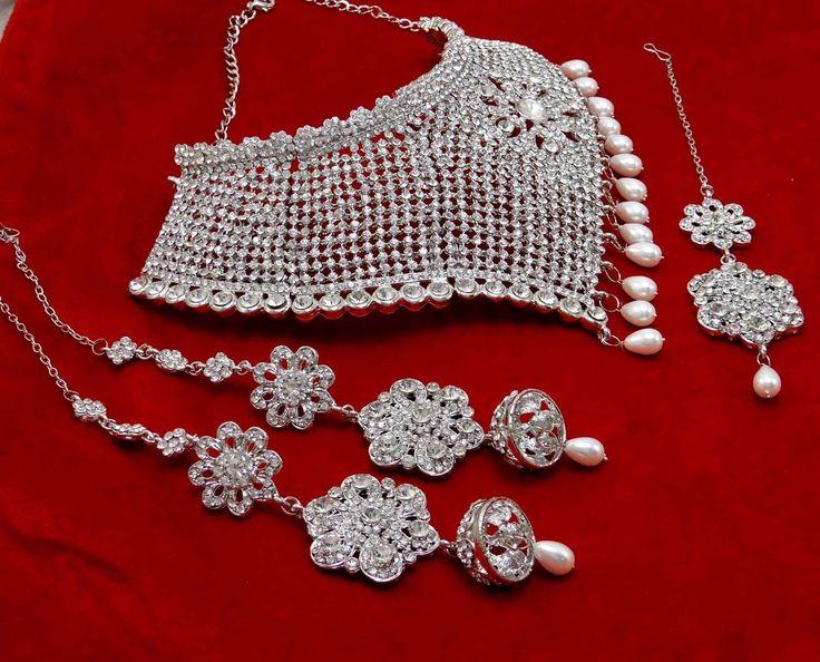 Silver tone CZ Necklace Earring Tikka Set #Bridal #Wedding Jewelry