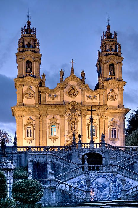 "Remedios Church, Lamego, Portugal. Leading up to the church, which sits on top of the hill, is an impressive set of 686 stairs.The last level area or platform before you reach the church is ""home"" to a beautiful blue tile wall decoration. http://www.discoverdourovalley.com/content/santu%C3%A1rio-de-nossa-senhora-dos-rem%C3%A9dios/douEA3EE3491DC5CDE20"