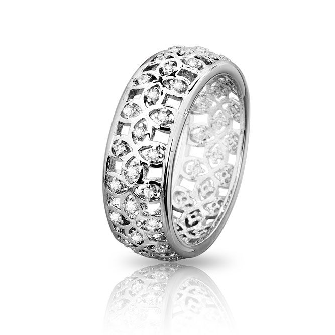 925 Sterling Silver Hollow Out Wedding Party Rings with Big Flower Design pandora Rings  Women Wedding Brand #6 - #9 R35