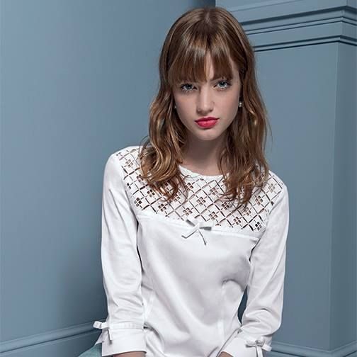 ¾ bow sleeve with crochet neckline top #NaraCamicie #Nara #Collection #Winter #Autumn #Elegant #Fashion #Clothes #Style #Class
