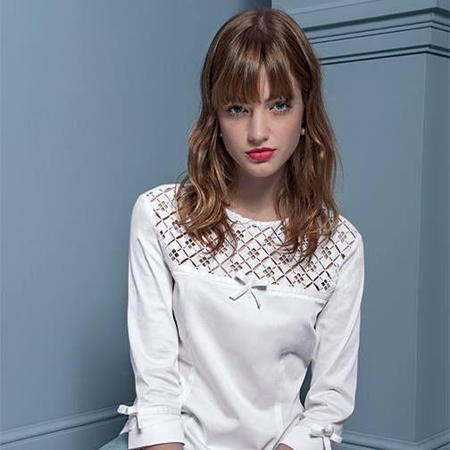 ¾ bow sleeve with crochet neckline top #NaraCamicie #Nara #Collection #Winter #Autumn #Elegant #Fashion #Clothes #Style #Class