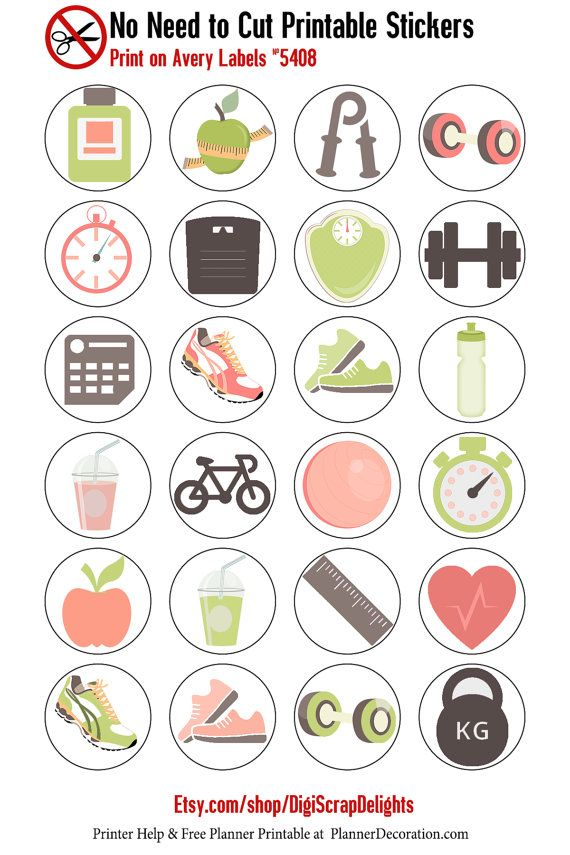 Exercise Icons No Cut Needed Printable Planner Stickers, Print On Avery Label 5408  This listing includes digital files only. No printed