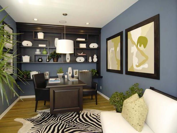 Office Wall Decorating Ideas: Blue & Brown Home Office Color