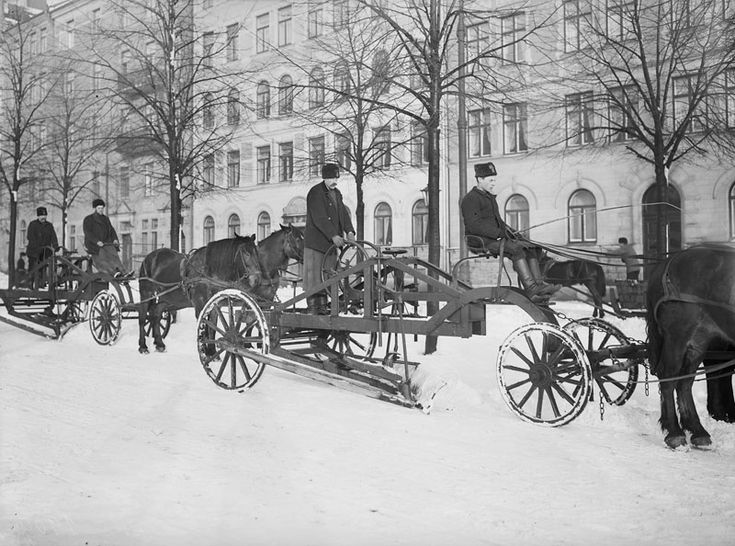 Snowplowing in Stockholm, Sweden 1909.