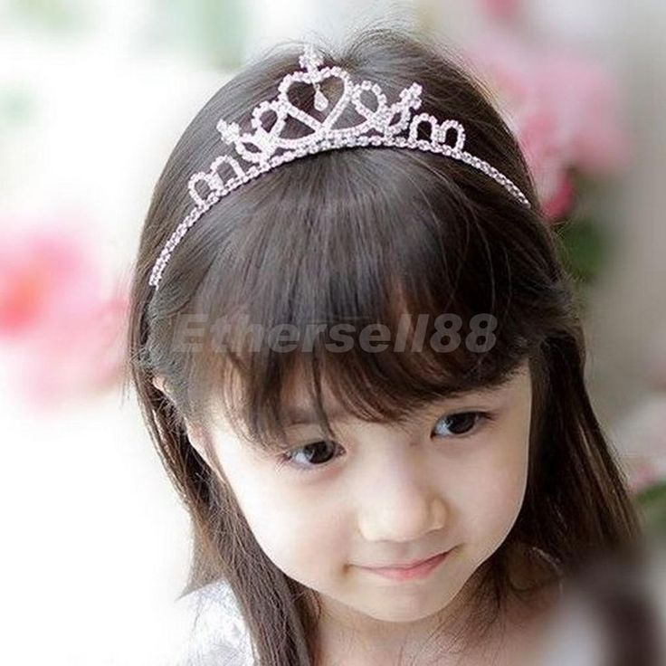 Clear Crystal Wedding Party Prom Children Flower Girl Heart-Shape Crown Tiara
