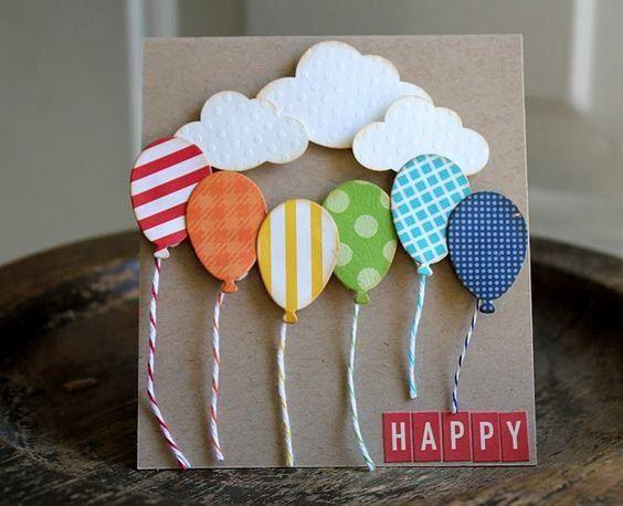 Открытки своими руками с воздушными шариками