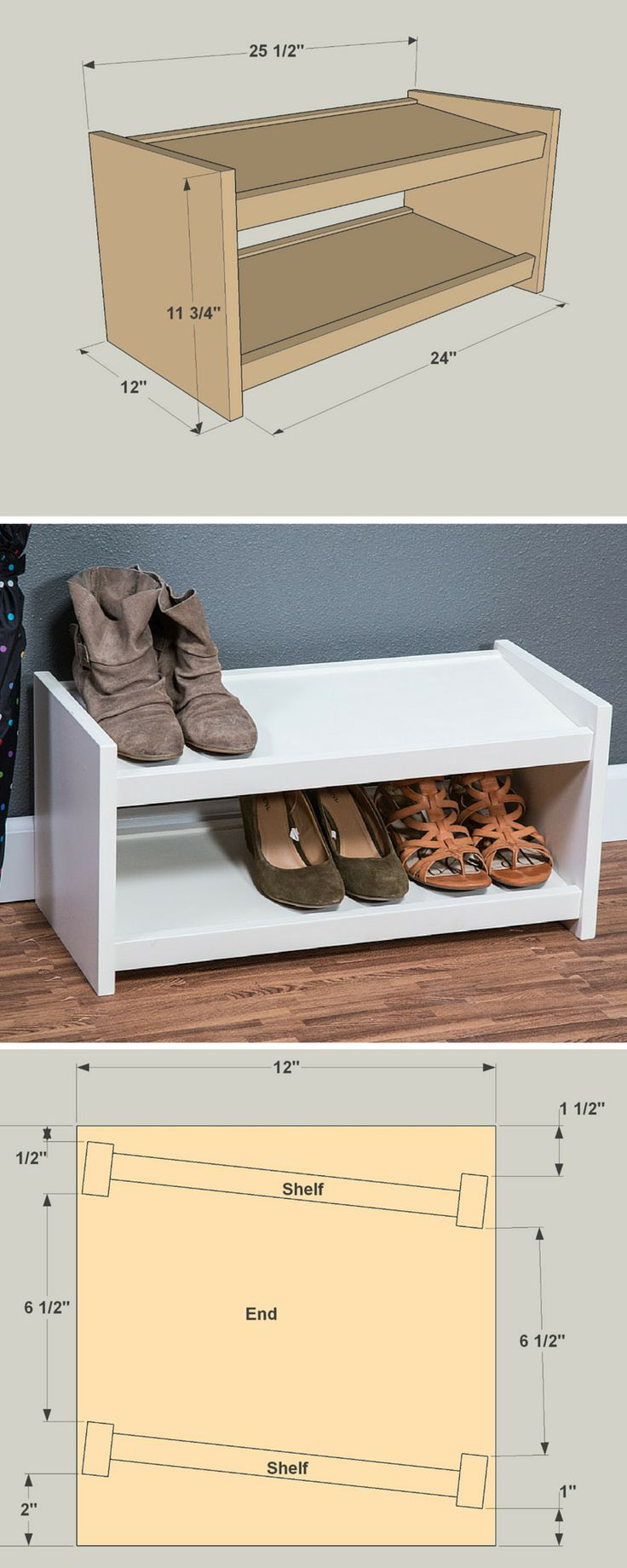 DIY Shoe Storage Rack | Free project plans at buildsomething.com | Shoes can quickly pile up, causing unnecessary clutter in the closet. Here's a simple two-tier shoe organizer that keeps several pairs of shoes tidy and visible. It's a quick and easy project that you'll use every day.