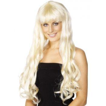 Paris pruik met lang blond haar  Lange blonde damespruik met pony. Paris damespruik met lang krullend blond lang haar en een rechte pony. Look-a-like Paris Hilton!  EUR 14.95  Meer informatie