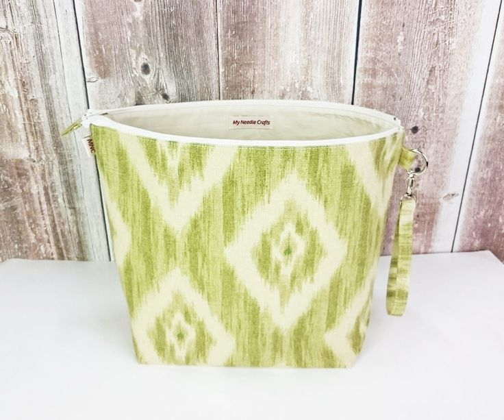 Knitting Bag in beige and green print, Large Zippered Wedge Bag, Sock knitting project bag, Wedge Knitting Tote by MyNeedleCrafts on Etsy