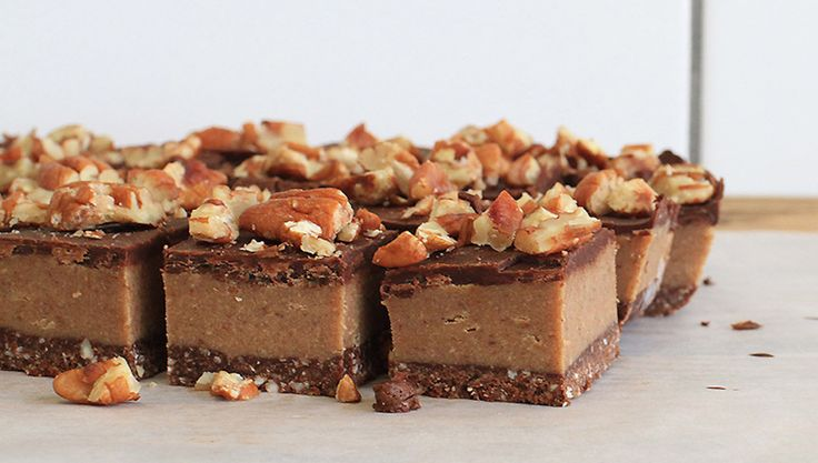 Raw pecan caramel slice  A healthier (but still delicious!) version of the sought-after dessert bar