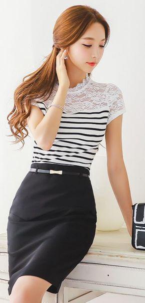 StyleOnme_Front Flap Detail Belted Pencil Skirt #ribbon #belt #black #pencil…