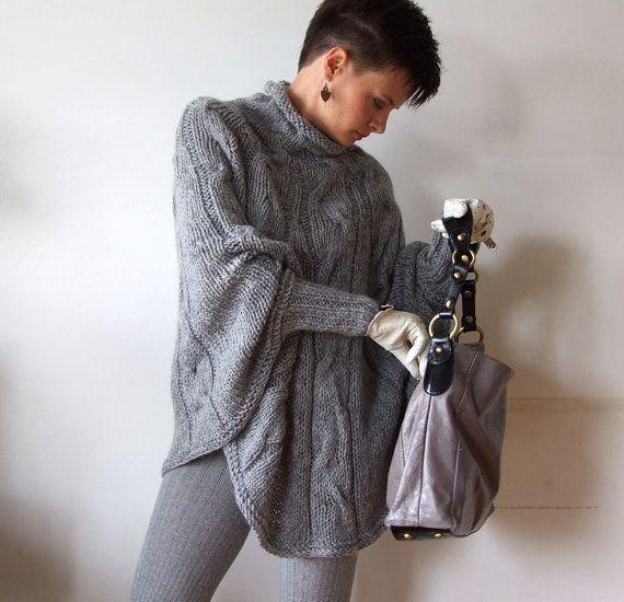 Gestrickter Poncho Hand geflochten Kap-Pullover Herbst von couvert