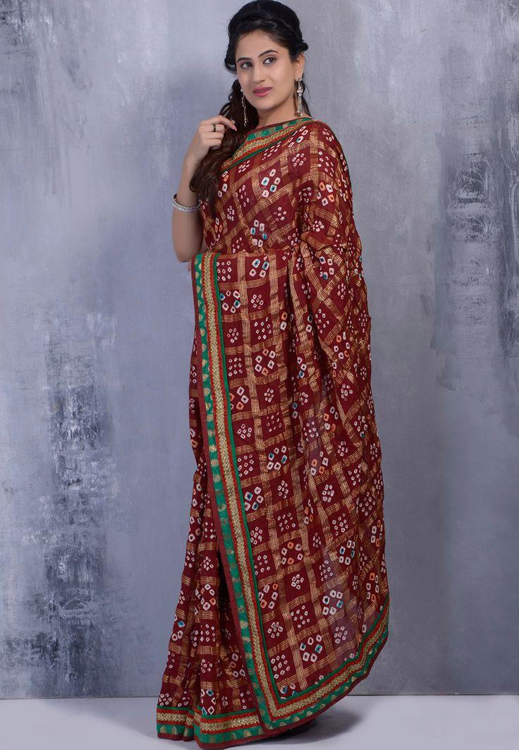 Dark Maroon Cotton Silk Ghatchola Bandhej  With Blouse: SJN4334