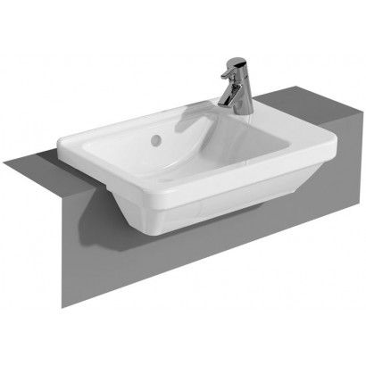 Vitra S50 Compact Square Semi-Recessed Basin. Vitra Bathroom Collection is a complete range of bathroom products. Excellent quality combined with real value, provides a recipe for success for the retailer and the consumer alike. http://www.dealsonbathrooms.co.uk/vitra-s50-compact-square-semi-recessed-basin.html#.VA650fmwJKU