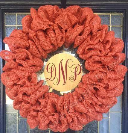 Burlap Wreath with Monogram Center