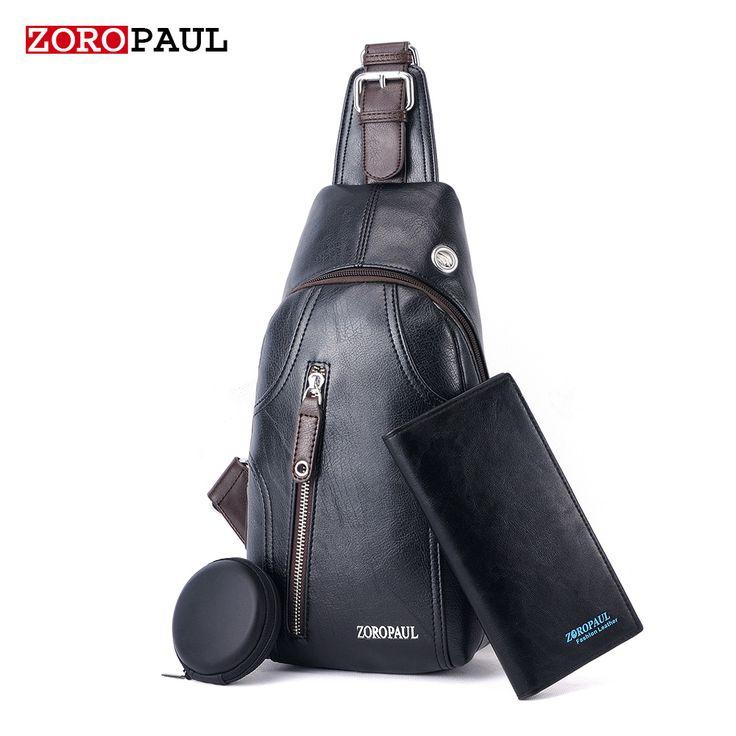 ZOROPAUL Men's Fashion Crossbody Bag Messenger High Quality PU Leather Men's Chest Bag Shoulder Bags For Men Chest Waist Pack
