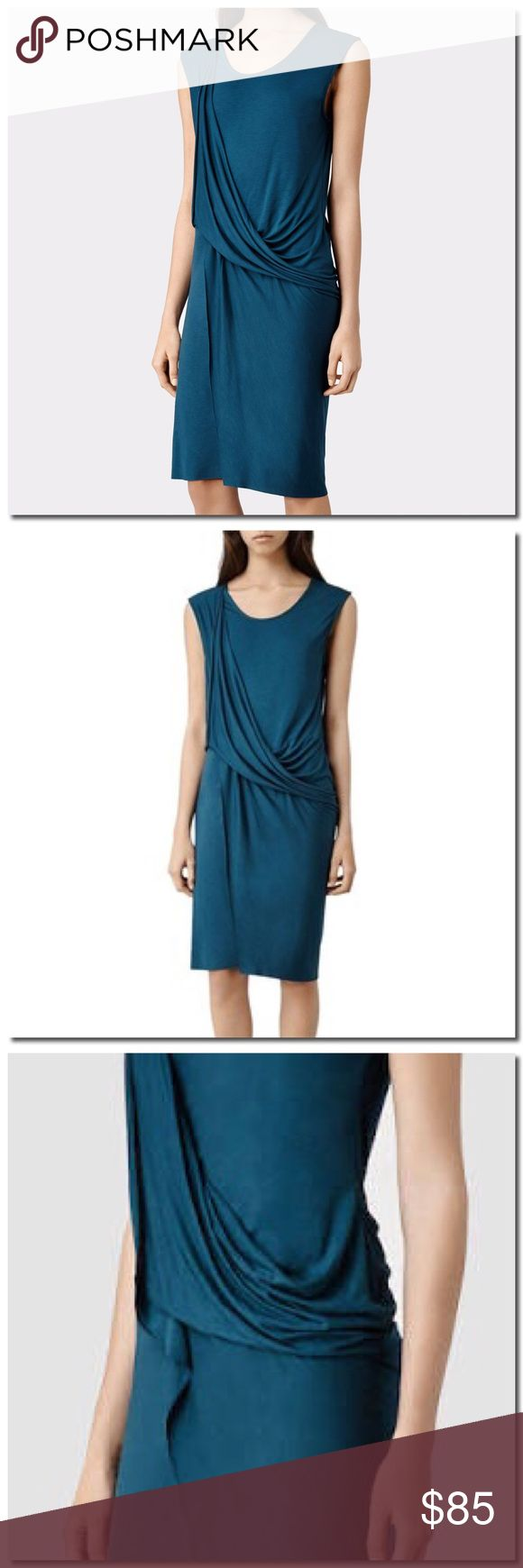 SALE All Saints Dress 146,147 Sleeveless, above the knee, twisted front drape. Slim fitting. Viscose jersey. Delicate wash. Raw hem All Saints Dresses