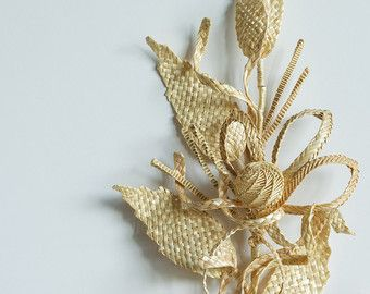 Boutonniere made out of straw. Rustic by YakymovychShop on Etsy