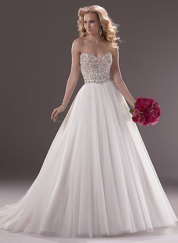 New Sweetheart Shine Rhinestone and Beads Tulle Wedding Dresses Ball Gown Custom Check out the website for more