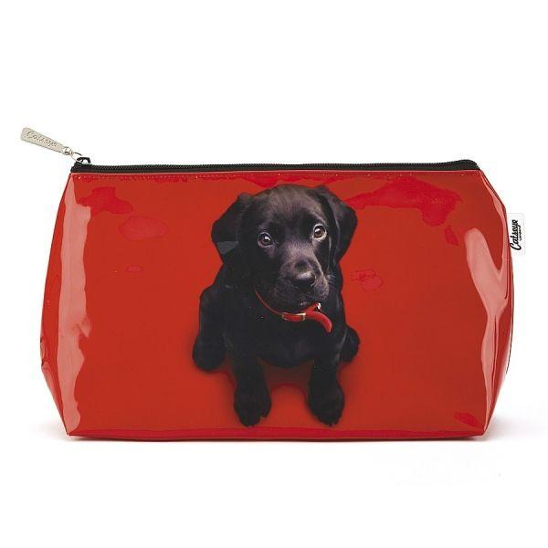 Trousse de Toilette Labrador sur fond Rouge