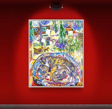 «Кошка с котятами». Люсенкова Валентина; холст, масло; 96х75 см. 2008