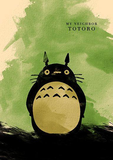 Mon voisin Totoro Hayao Miyazaki film minimaliste par moonposter