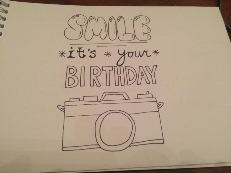 Handlettering: Smile! It's your birthday www.lachendeletters.nl