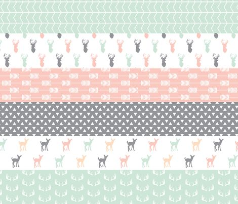 Girl Woodland Wholecloth // pink/grey/mint fabric by littlearrowdesign on Spoonflower - custom fabric