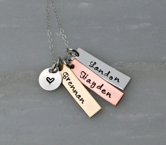 623 best jewelry metal stamped images on pinterest charm bracelets hand stamped jewelry mixed metal personalized necklace name necklace hand stamped jewelry mozeypictures Gallery