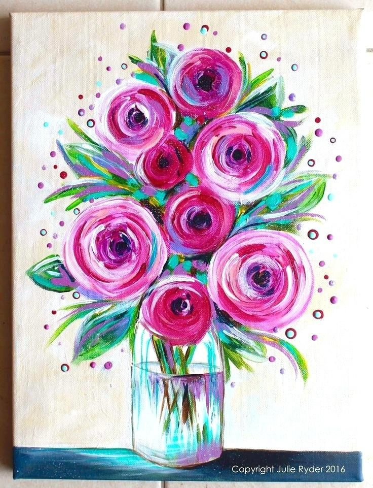 Easy To Paint Canvas Designs Simple Flower Painting Ideas Best
