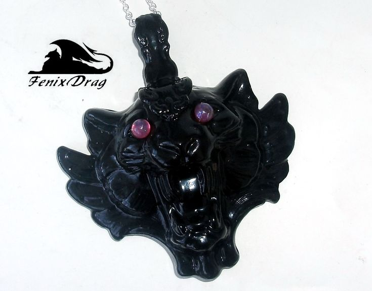 "Pendant ""Ancient saber-toothed black Panther"" with wings (cat, tiger, leopard) in Gothic, Steampunk, Vintage, Victorian styles jewelry"