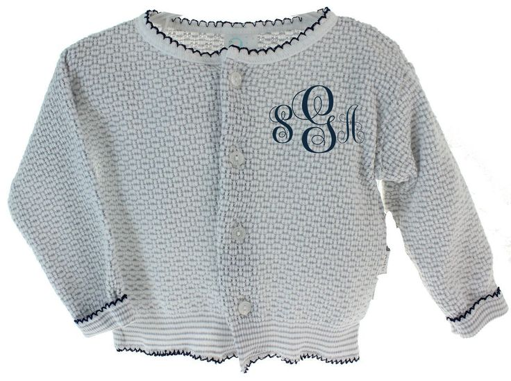Baby Girls or Boys Cardigan Sweater Grey & Navy looks so cute with embroidered name or intials.  Shop our online baby boutique today! #babygirlsweaters