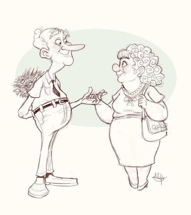Old Couple Sketch by *LuigiL on deviantART https://www.facebook.com/CharacterDesignReferences