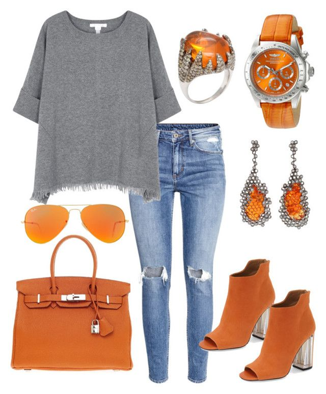 """""""Untitled #5"""" by lchrumka on Polyvore featuring H&M, Calvin Klein, Hermès, Arunashi, Invicta, Ray-Ban, Duffy, women's clothing, women and female"""