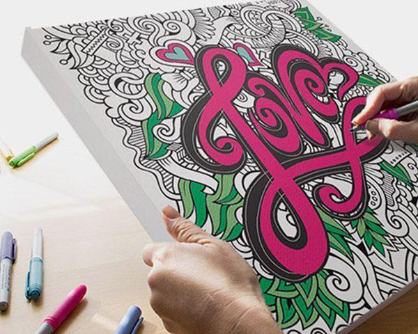 Love Coloring Canvas Coloring Canvas Doodle Art Posters Doodle Canvas