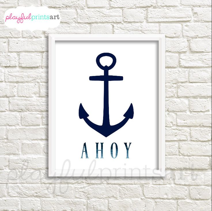 Ahoy Anchor Print, 8x10, Instant Download by playfulprintsart on Etsy