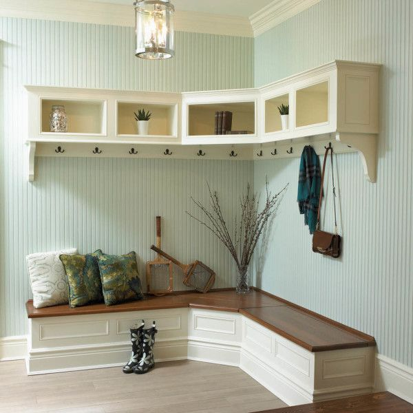Delicieux Furniture Aesthetic Corner Benches For Entryway In White Paint Color  Schemes Under Corner Wall Mount Shelf